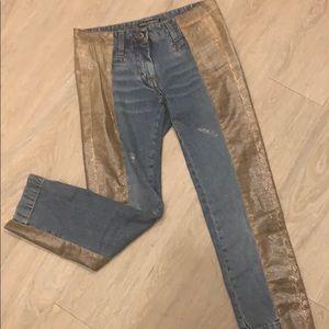 Dolce and Gabbana Snake Trimmed Capri Jeans